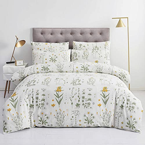 OREISE Botanical Duvet Cover Set, 100% Cotton Bedding, Yellow Flowers and Green Leaves Floral Garden...
