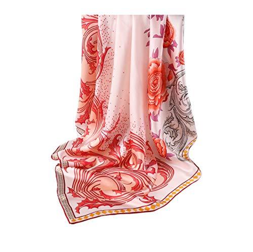 laprée - Bufanda de seda para mujer, pañuelo de seda, pañuelo para el cuello, pañuelo para la cabeza, pañuelo cuadrado, 90 x 90 cm, diseño de flores.