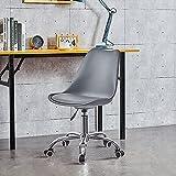 OFCASA Silla de escritorio para ordenador, ajustable, de plástico, color gris, con asiento acolchado, silla de trabajo...