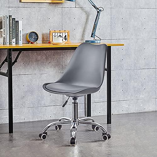 OFCASA Silla de escritorio para ordenador, ajustable, de plástico, color gris, con asiento acolchado, silla de trabajo ejecutiva para oficina en casa
