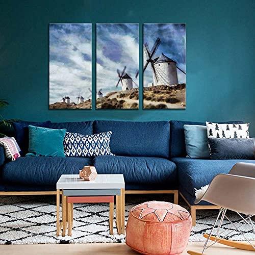 YYUI Cuadros Modernos Impresión de Imagen 3 Piezas Molinos de Viento en Consuegra Don Quijote 150x70cmx3 Piezas Impresión Material Tejido No Tejido Impresión Artística Imagen Gráfica Decoracion