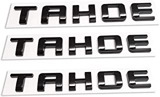 3pcs Tahoe Nameplate Emblem ABS Letter Badge Replacement for Gm 07-16 Tahoe Glossy Shiny (Black)