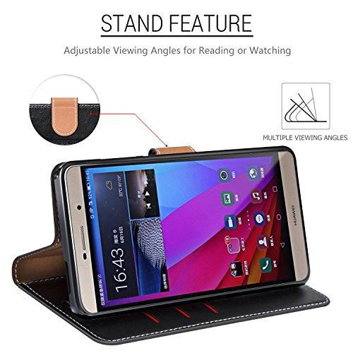 COODIO Handyhülle für Huawei P8 Max Handy Hülle, P8 Max Hülle Leder Handytasche für Huawei P8 Max Klapphülle Tasche, Schwarz/Rot - 3