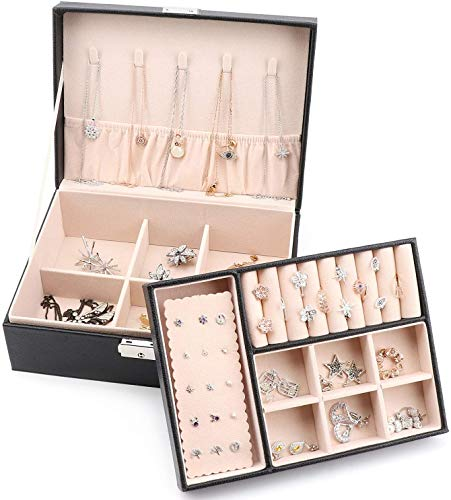 Best Balmy Jewelry Box Organizer, 2-Layer Lockable Jewelry Box, Soft Velvet Lining Ring Earrings Holder Necklace Bracelet Jewelry Display Storage Case Gift for Women Girls - Black