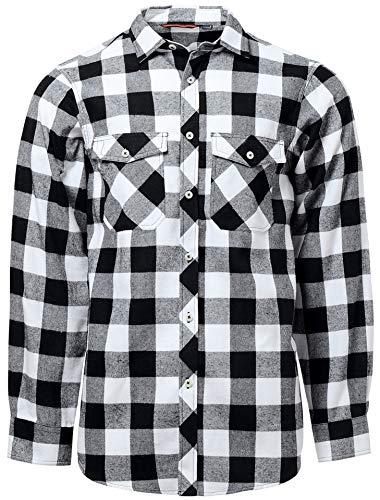 J.VER Camisas de Cuadros Hombre Franela Manga Larga Algodon Casual Regular Fit