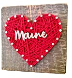 Sweet & small Maine string art heart gift sign. For MAINE enthusiasts. Made in Maine by Nail it Art