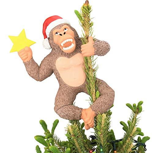 "Tree Buddees King Kong Climbing The Tree Funny Christmas Tree Topper - Large 10"""