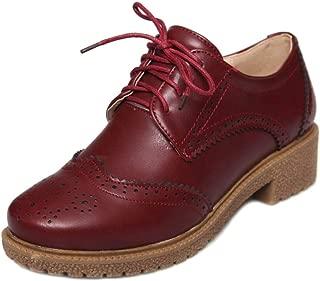 Zanpa Women Classic Oxford Shoes Flat Lace up Uniform School Shoes