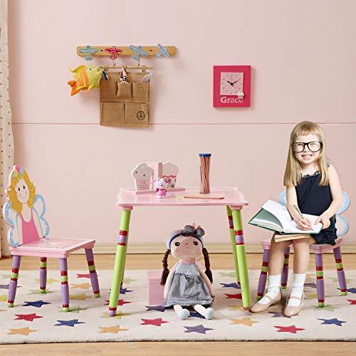 WODENY - Juego de mesa y sillas para niños hechos a mano con dibujos animados, dos sillas incluidas para niños y niñas