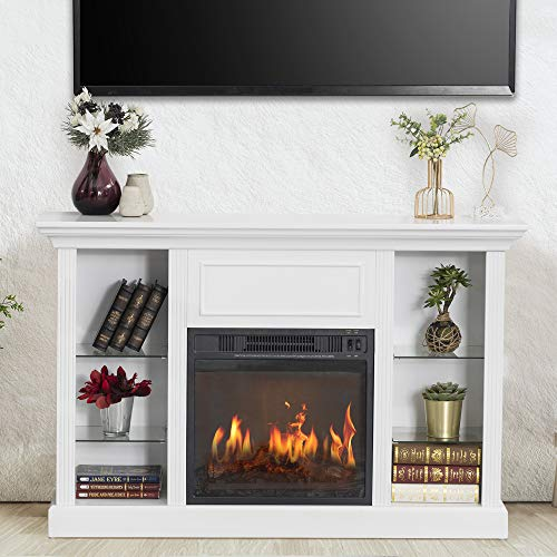 """GOOD & GRACIOUS Electric Fireplace TV Stand, Fit up to 50"""" Flat Screen TV with Four Tempered Glass Open Shelves Entertainment Center for Living Room, White"""