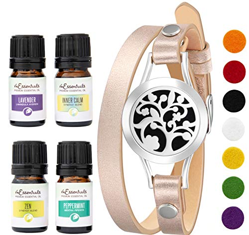 Wild Essentials Arbol Tree Essential Oil Diffuser Bracelet Gift Set - Includes Aromatherapy Pendant, 14.5' Leather Wrap Band, Refill Pads and 100% Pure Oils (Lavender, Peppermint, Inner Calm and Zen)