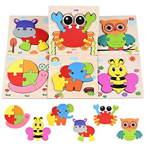 GOLDGE 6 Stück Holzpuzzle Set für Kinder ab 1 Jahr Holzpuzzles Lernspielzeug für Kinder Geschenk Bunte Tierpuzzle
