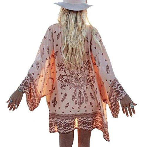 Kimono de Verano, Dragon868 Mujer Bohemio Gasa Suelta mantón Kimono Cardigan Cover ups para la Playa (XL, Rosa)