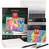 Arteza Watercolor Painting Art Set, Real Brush Pens 24 and Foldable Canvas Paper Bundle, DIY Kit Art Supplies for Artists & Hobby Painters