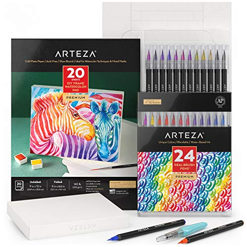 Arteza Watercolor Painting Art Set, Real Brush Pens 24 and Foldable Canvas Paper Bundle, DIY Kit Art Supplies for Kids and Adults
