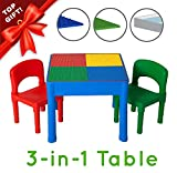 Play Platoon Kids Activity Table Set - 3 in 1 Water Table, Craft Table and Building Brick Table with Storage -...