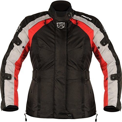 182934L06 - Akito Tornado Ladies Motorcycle Jacket L Black Red