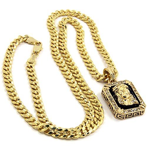 "Mens Gold Plated Hip-Hop Iced Cz Black Ruby Jesus Face Pendant 5mm 24"" Cuban Chain Necklace D541"