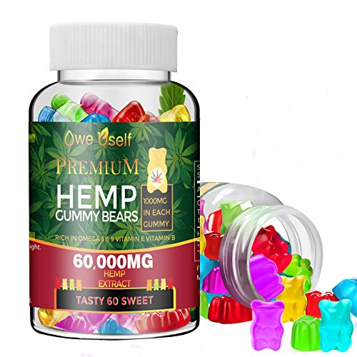 Hemp Gummies 60000mg - 100% Natural Hemp Oil Infused Gummies for Anxiety, Stress & Inflammation Relief,Promotes Sleep,Tasty & Relaxing