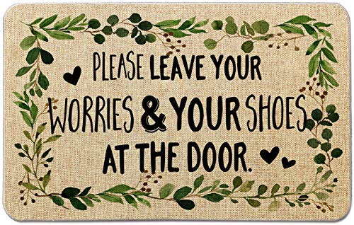 Occdesign Durable Burlap Front Door Mat Rug -Leave Your Worries & Shoes at The Door -Decorative Doormat for Porch Entry -27.5X17 inches