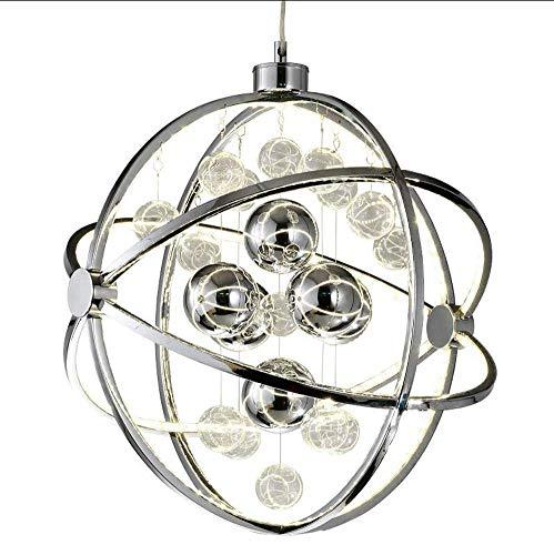 Creativa bola de encendido LED de techo colgante postmoderno lámpara de suspensión con acero inoxidable redondo luz cálida para dormitorio, luz blanca cálida