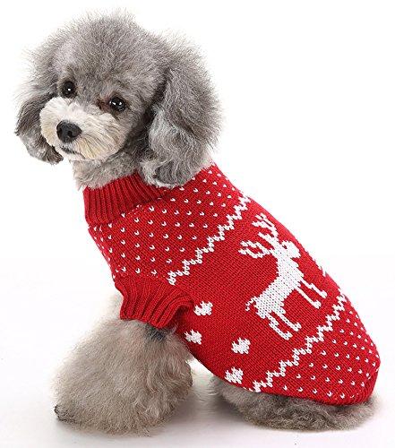 (マルペット)MaruPet 誕生日 聖夜 秋冬 ペットウェア犬服猫服 おしゃれ ペットウェア ドッグウエア 小型犬用品 かわいい犬の服 ニットセーター トイプードル/ダックス/マルチーズ/シュナウザー/シーズー等の小型犬 レッド M