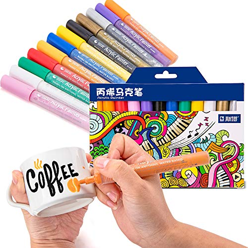 ACRYLIC PAINT MARKERS SET OF 12 Paint Pens markers for Glass permanent - Plastic - Rock Painting - Porcelain - Ceramic - Fabric - Enamel pen - Canvas - School craft - Paint supplies for artists Photo #2