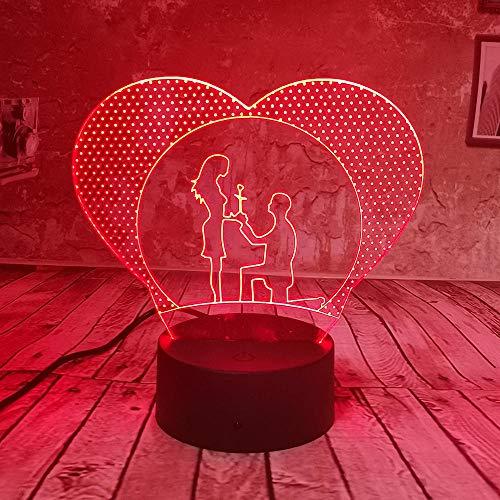 Lampe d'illusion 3D Led Night Light Lover Bright Optical 7 Couleurs Décoration de la maison Tables de chambre pour enfants Adultes Filles Coeur
