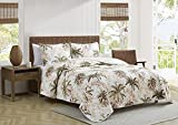Tommy Bahama | Bonny Cove Collection | Quilt Set - 100% Cotton, Reversible, Light Weight & Breathable, Pre-Washed for Added Softness, King, White