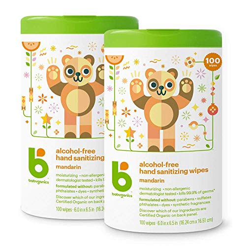 Babyganics Alcohol-Free Hand Sanitizer Wipes, Mandarin, 100 ct, 2 Pack, Packaging May Vary