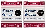 Pilot Namiki IC100 Cartucho de tinta para pluma estilográfica, negro, 12 cartuchos por paquete (2 unidades)