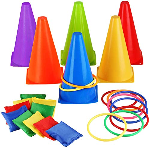 Eocolz 3 in 1 Carnival Games Set, Soft Plastic Cones Bean Bags Ring Toss Games for Kids Birthday Party Outdoor Games Supplies 26 Piece Combo Set