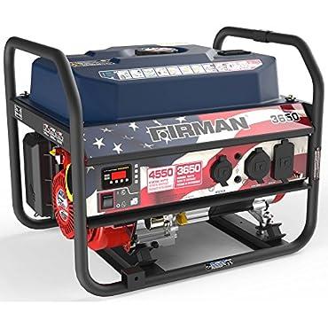 Firman P03611 Recoil Start Gas Portable 4550/3650-Watt Generator With Stars and Stripes Print