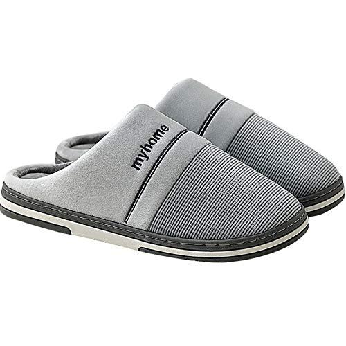 KIKIGO Zapatillas Calientes,Zapatillas de casa para Hombre Antideslizantes, Zapatos de Felpa para abrigarse en Invierno.-Gris_40zapatillas calefactables