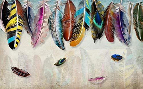 Papel Pintado 3D Arte De Textura De Plumas De Colores Fotomurales 3D Tv Fondo Pared Murales Papel Tapiz Moderno