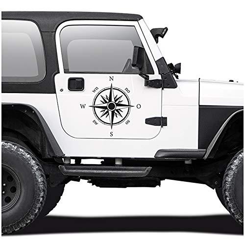 Autoaufkleber Kompass Offroad Windrose Sticker Folie für Auto Motorrad Wohnwagen Wohnmobil Anhänger Aufkleber Selbstklebend Kfz Zubehör KX058 (Schwarz Matt, Design 1 groß)