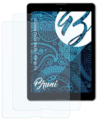 Bruni Schutzfolie kompatibel mit Medion LIFETAB P9702 MD60201 Folie, glasklare Bildschirmschutzfolie (2X)