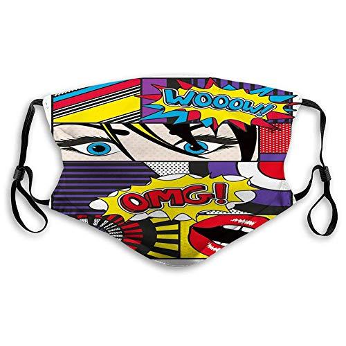 Bequeme Winddichte Maske, Kunst, Comic-inspirierter Stil Wooow OMG Eyes Lesetafeln Linien Aufregung Action Print, Multicolor