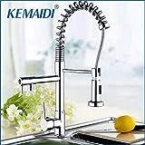 KEMAIDI Mdoern Chrome Polish Pull Out Kitchen Faucet torneira Deck Mount Dual Water Way Sprayer Kitchen Sink Mixer Tap United Kingdom