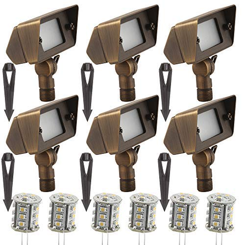 LFU 6 Pack of Arvada - Brass Constructed Wall Washer/Flood Lights - with 2.5W LED (Warm White) - Low Voltage - LF2025AB