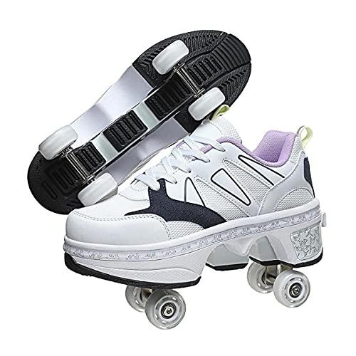 HANHJ VIIPOO Pattini A Rotelle Scarpe, 2 in 1 Scarpe Multiuso, Pattini Linea, con Deformazione Multifunzionale Skate Pattini A Calzature Sportive Da Esterno per Adulti Unisex,White-39