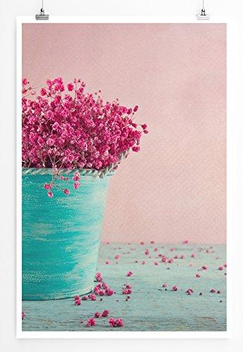Eau Zone Home foto - Art foto's - Roze bloemen in een turquoise vaas - Fotodruk in haarscherpe kwaliteit POSTER 90x60cm