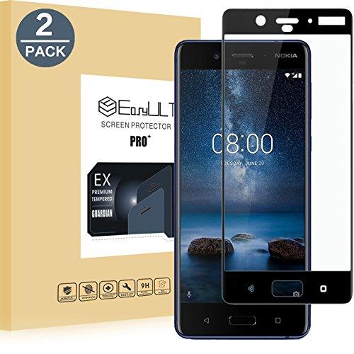 EasyULT Pellicola Protettiva per Nokia 8 2 Pack Copertura Completa Pellicola Protettiva in Vetro Temperato per Nokia 8-Nero