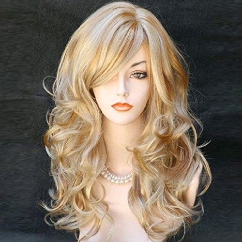 "BERON 21"" Stylish Long Curly Blonde Hair Wig Party Perruque (Blonde)"