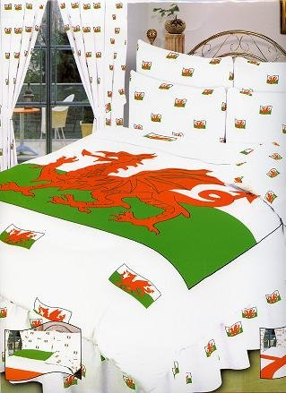 The House Of Emily Single Bed Size Wales Welsh Dragon Duvet Cover + Curtains + Valance Sheet + Pillow Case Bedding Set