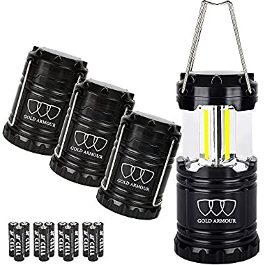 Gold Armour Brightest Camping Lantern (EMITS 350 LUMENS!) 4 Pack LED Lantern - Camping Equipment Gear Lights for Hiking, Emergencies, Hurricanes, Outages, Great Gift Set (Black)
