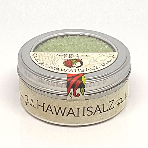 Pfefferbraut grünes Hawaii Salz Bamboo Jade - tolles Salz zum Veredeln von Gerichten, toll auf Steaks, feine Asia-Bambus-Note - in der 180g Fingersalzdose