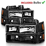 AmeriLite Black Replacement Crystal Headlights Sets For 94-98 Chevy Fullsize - Passenger and Driver Side