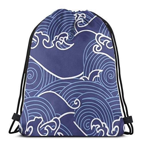 Profesores Mochila con cordón Bolsas Blue Waves Stripes Mochila Ligera de Almacenamiento de Cuerdas Escolares para Hombres 14.17in * 16.92in
