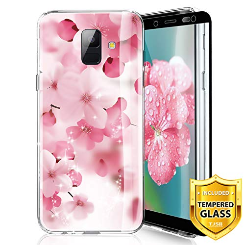 TJS Phone Case for Samsung Galaxy A6 2018, with [Full Coverage Tempered Glass Screen Protector] Ultra Thin Slim TPU Matte Color Marble Transparent Clear Soft Skin Protector Cover (Cherry Blossoms)